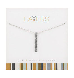 Center Court Layers Necklace-Silver Single Bar