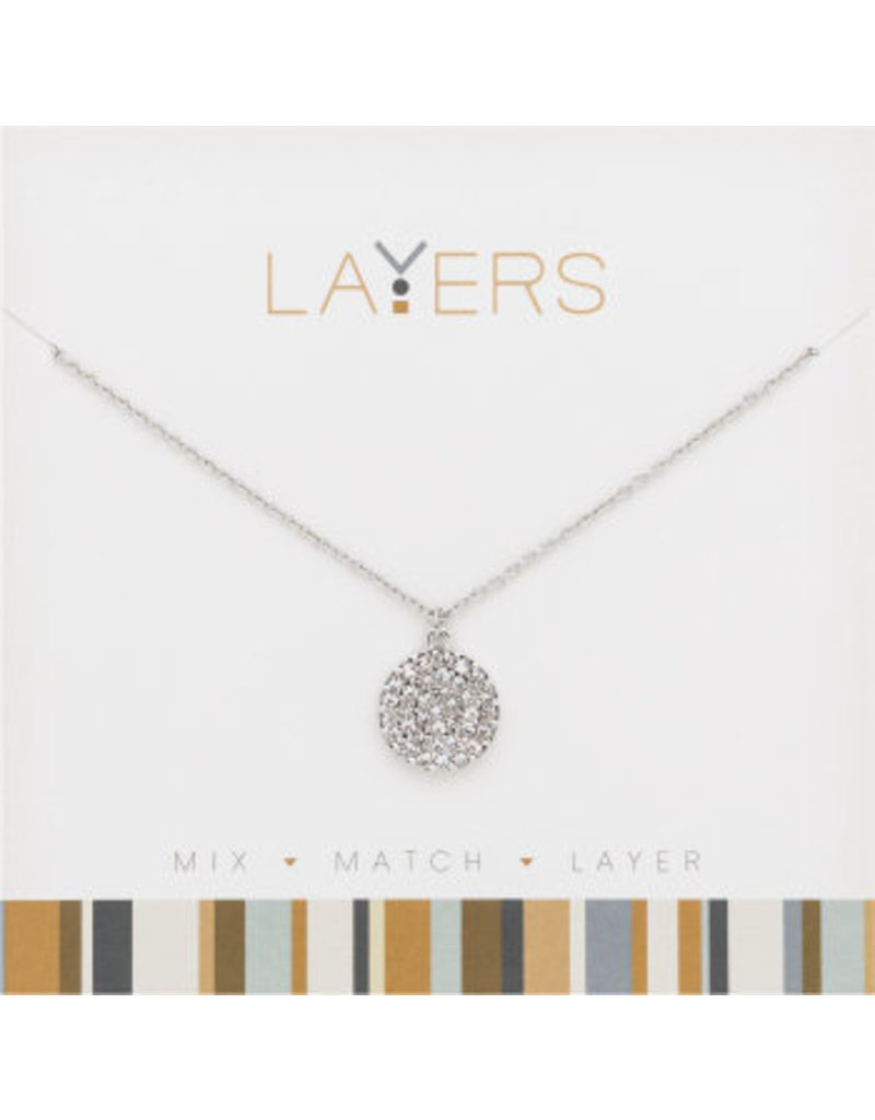 Center Court Layers Necklace-Silver Round CZ