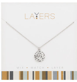 Center Court Layers Necklace-Silver Round Hammered