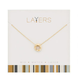 Center Court Layers Necklace-Gold Tri Circle