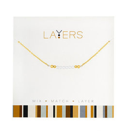 Center Court Layers Necklace-Gold Pearl Bar