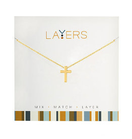 Center Court Layers Necklace-Gold Cross