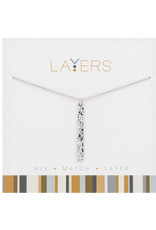 Center Court Layers Necklace-Silver Hammered Single Bar