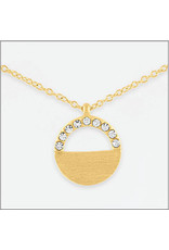 Center Court Layers Necklace-Gold CZ Half Circle