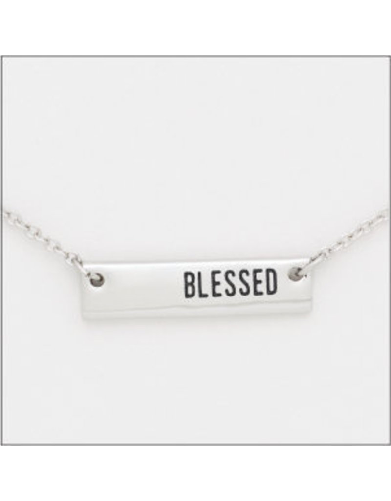 Center Court Layers Necklace-Silver Blessed Tag