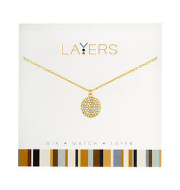 Center Court Layers Necklace-Gold Round CZ