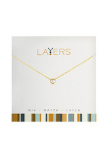 Center Court Layers Necklace-Gold Single Crystal