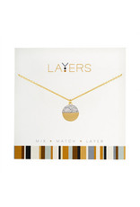 Center Court Layers Necklace-Gold Circle Granite