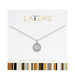 Center Court Layers Necklace-Silver Round Disc CZ