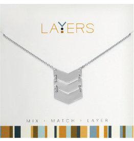 Center Court Layers Necklace-Silver trio Chevron
