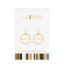 Center Court Layers-Gold Half Stone Circle Dangle Earrings