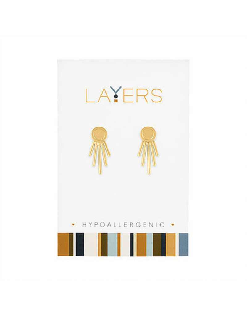 Center Court Layers-Gold Starburst Ear Jacket Earrings
