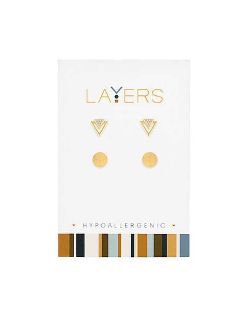 Center Court Layers-CZ Triangle& Round Double Pair Earrings