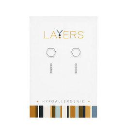 Center Court Layers-Silver Hexagon& CZ Bar Duo pair Stud Earrings