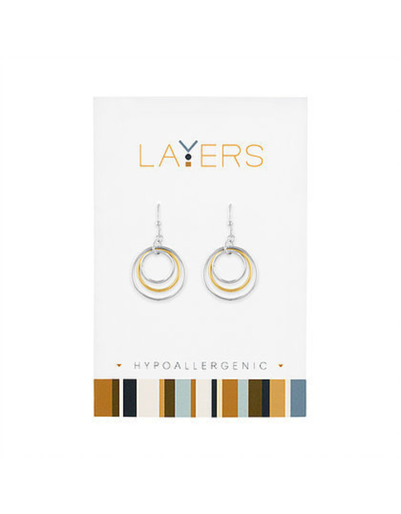 Center Court Layers-Silver Two Tone Circle dangle Earrings