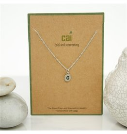 Cool and Interesting Silver Dainty Disc Initial Necklace, G