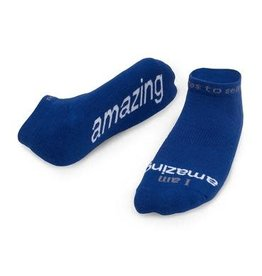 Note To Self Socks Low Cut-I Am Amazing, Blue