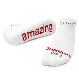 Note To Self Socks Low Cut-I Am Amazing, White