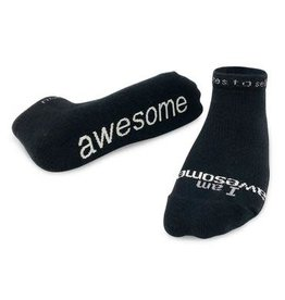 Note To Self Socks Low Cut-I Am Awesome, Black