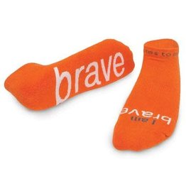 Note To Self Socks Low Cut-I Am Brave, Orange