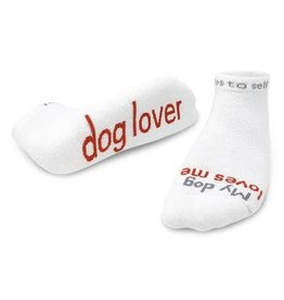 Note To Self Socks Low Cut-My Dog Loves Me, White