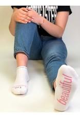 Note To Self Socks Low Cut-I Am Beautiful, White