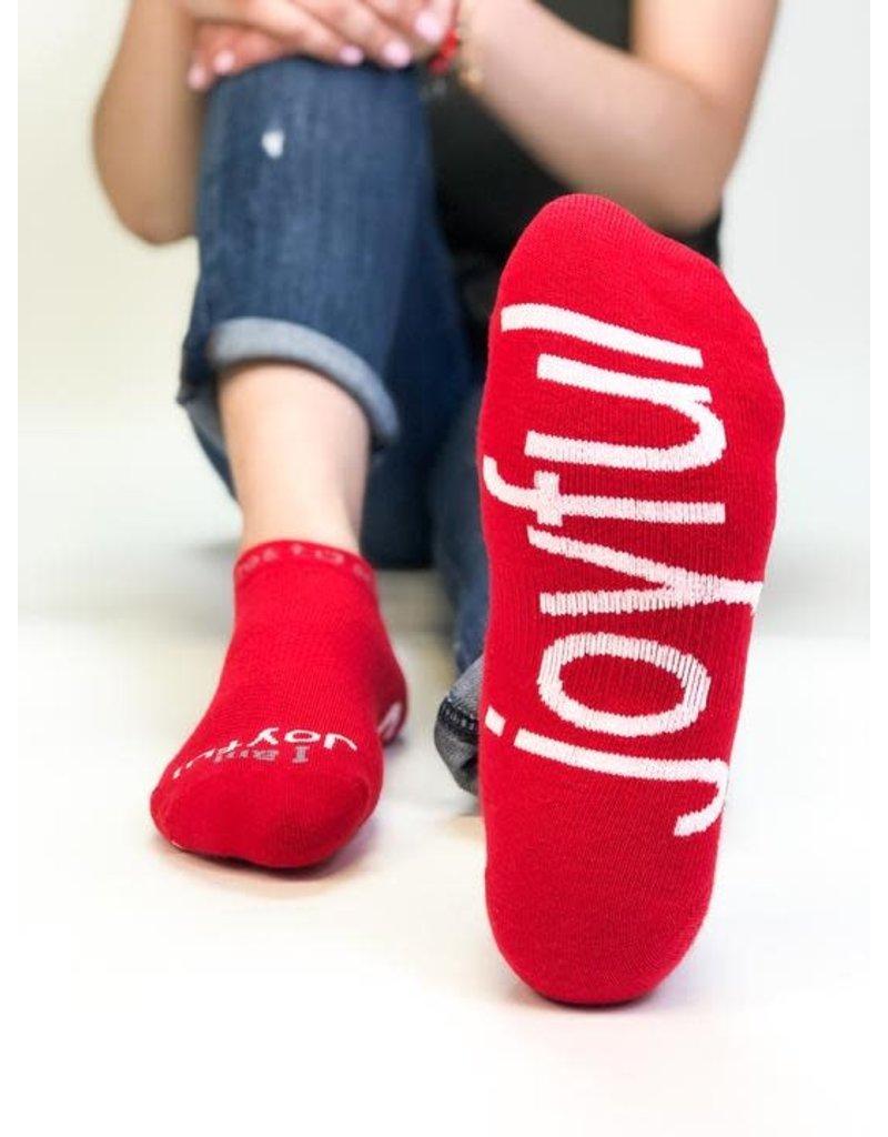 Note To Self Socks Low Cut-I Am Joyful, Red