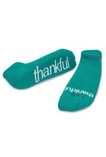 Note To Self Socks Low Cut-I Am Thankful, Teal