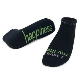 Note To Self Socks Low Cut-I Love My Life-Happiness, Black