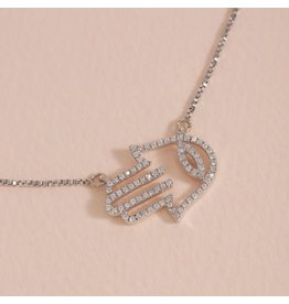 Ella Stein Hamsa Handshake Sterling Silver Pendant Necklace