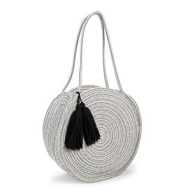 Mud Pie Rope Circle Tote Cream