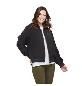 Mud Pie Nolan Ruffle Sleeve Bomber Jacket, Black