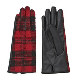 Mud Pie Plaid Gloves red