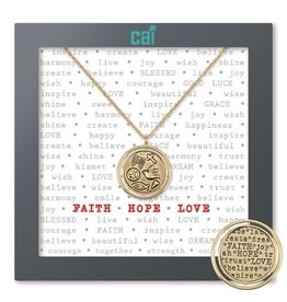 Cool and Interesting Faith Hope Love Necklace-Gold