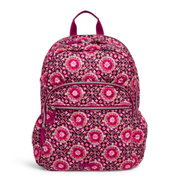 Vera Bradley Iconic Campus Backpack Raspberry Medallion