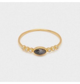 Gorjana Eloise Gem Ring Gold, Black Labradorite