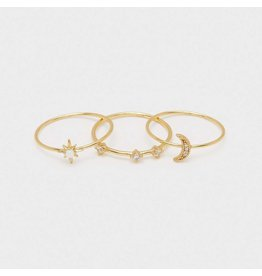 Gorjana Luna Ring, Gold, Set of 3, White Opalite