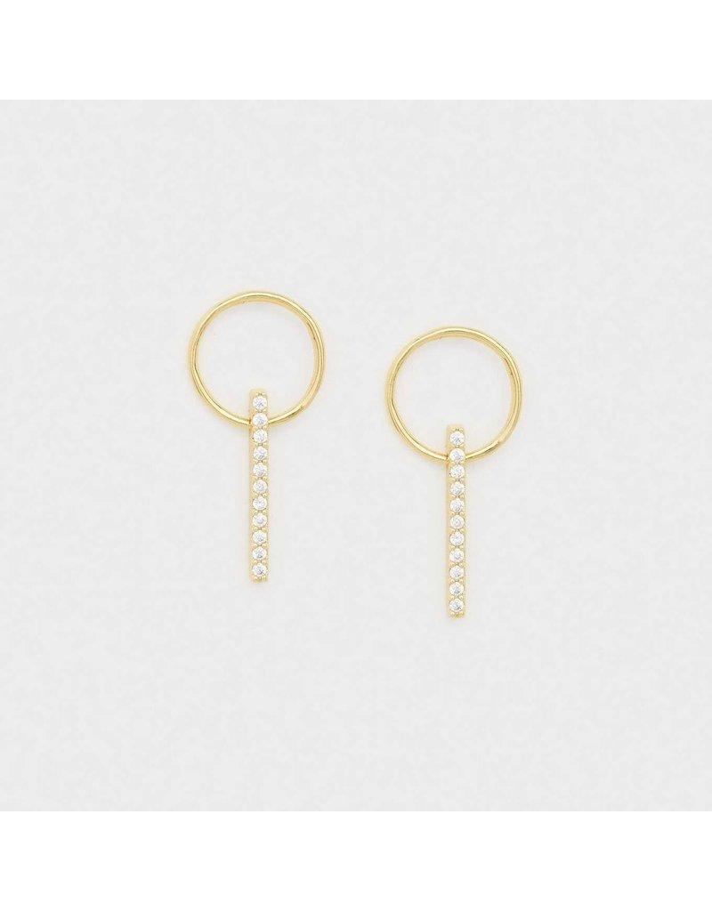 Gorjana Balboa Shimmer Small Drop Earrings Gold- White CZ
