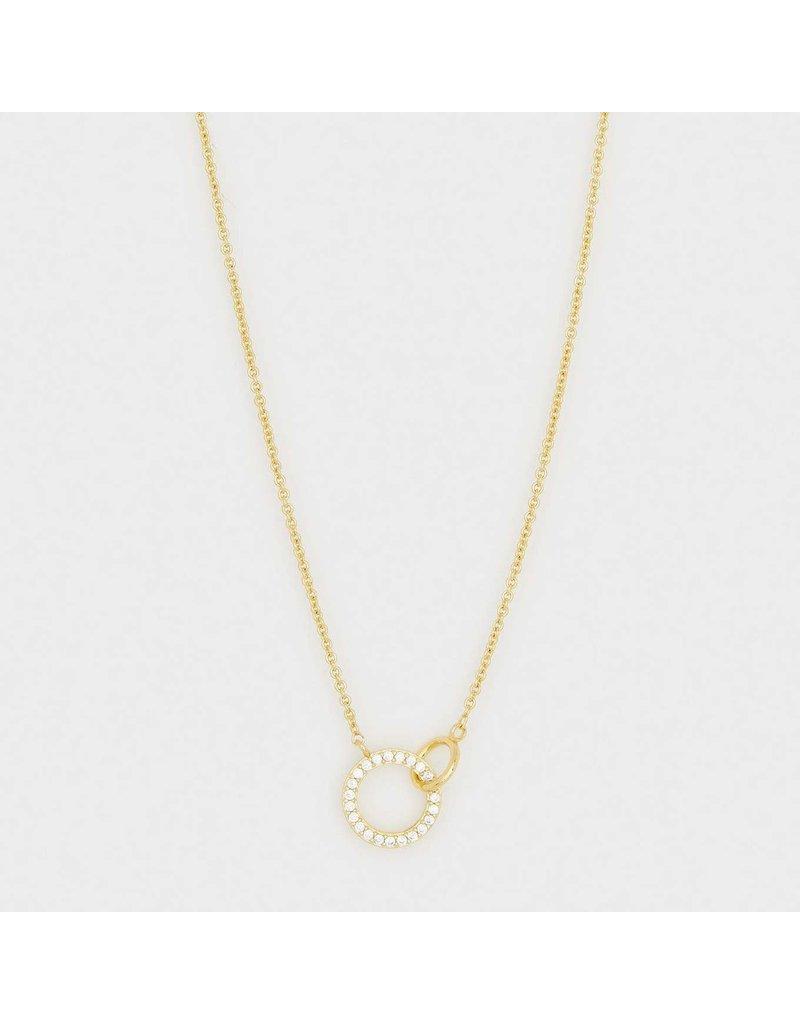 Gorjana Balboa Shimmer Interlocking Necklace Gold- White CZ