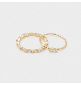 Gorjana Lena Ring, Set of 2, Gold - White CZ