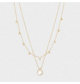 Gorjana Eloise Gem Layered Necklace Gold- Mother of Pearl
