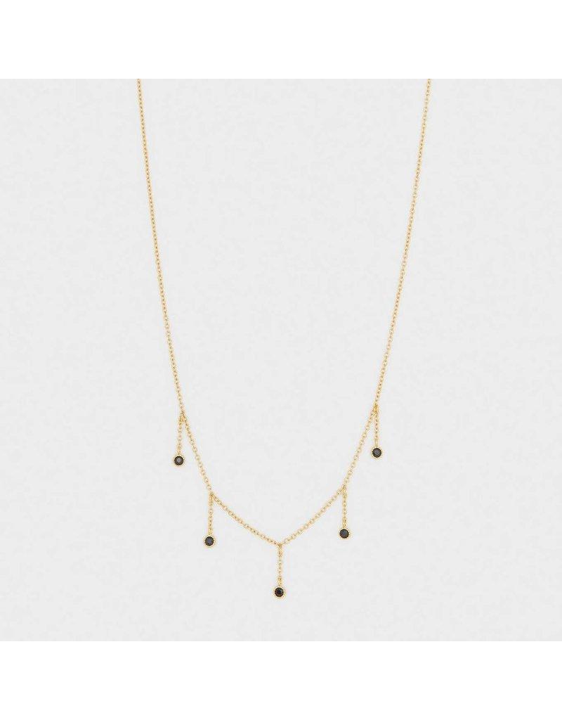 Gorjana Eloise Necklace Gold- Black Nanogem