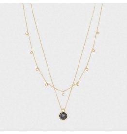 Gorjana Eloise Gem Layered Necklace Gold- Black Labradorite
