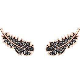 Swarovski Naughty Pierced Earrings, Black, Rose Gold Plated