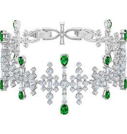 Swarovski Perfection Bracelet, Green, Rhodium Plated