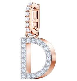 Swarovski D Alphabet Charm, Crystal and Rose Gold Plated