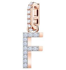Swarovski F Alphabet Charm, Crystal and Rose Gold Plated
