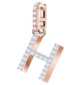 Swarovski H Alphabet Charm, Crystal and Rose Plated