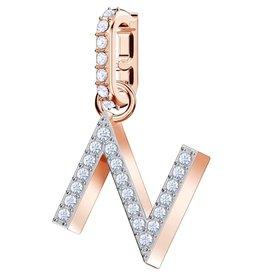 Swarovski N Alphabet Charm, Crystal and Rose Gold Plated