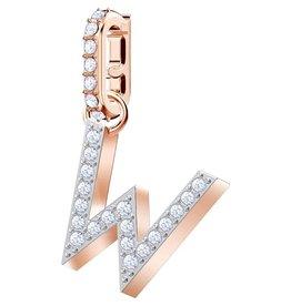 Swarovski W Alphabet Charm, Crystal and Rose Gold Plated